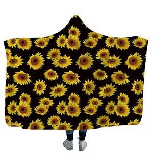 Sunflower Hooded Blanket Leopard Gedruckte Fleecedecken Erwachsene Kinder Weiche Warme Sherpa Capes Reisepicknick Wurfhandtuch 13styles GGA2586