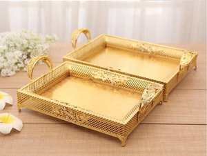 European fashionable rectangular hollow metal tray diamonds decorative gold storage tray metal severing tray