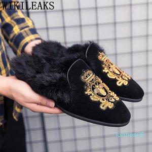 mulas zapatos de ante negro hombres zapatos zapatillas de lujo para la mitad de los hombres del diseñador de moda hombre de deslizamiento sepatu casual en el PRIA L05