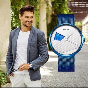 SINOBI 2019 Original-Unregelmäßige Kreative Männer Uhr Mailand-Bügel-Armbanduhr-Männer drehen Zifferblatt Uhren Sport-Tropfen Schiff beobachten
