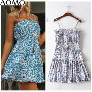 AOMO women leopard print beach dress adjustable spaghetti strap 2020 summer females mini dresses vestidos JA40A