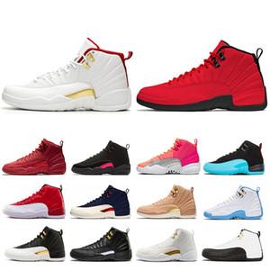 FIBA 12 12s Shoes Mens Basketball soco Hot Gym University College Red Asas da Marinha Preto CNY Bulls azul homens do esporte Sneakers Tamanho 7-13