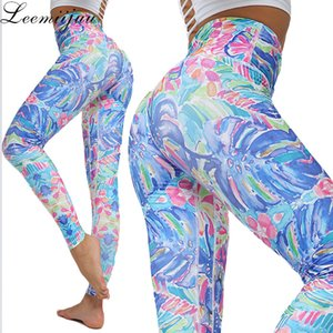 LEEMIIJUU Frauen Yoga Leggings Druck mit hoher Taille Fitness Leggings Lauf Gym Pants Women Bunte Sport Workout