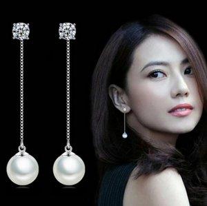 Мода серебро-цвет Имитация Pearl Подвеска длинное ожерелье серьги ювелирные изделия Цирконий Длинные серьги Pearl Люкс Свадебные