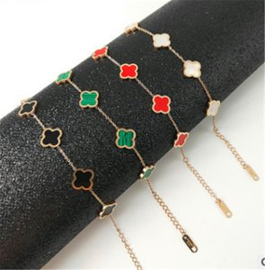 18K rose gold four-leaf clover bracelet titanium steel not faded hand accessories women's net red accessories stalls wholesale supply
