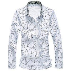 Nuevo diseño de la primavera Hombres camiseta clásica camisas de vestir de manga larga a cuadros geométricos formales hombre de alta calidad Tamaño más 7XL