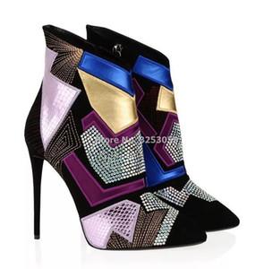 ALMUDENA En Çok renkli Bling Bling Kristal Bilek Boots Renklendirme Dikiş Nakış Patchwork Kısa Çizme Gladyatör