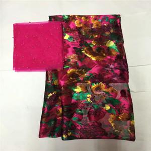 Африканский мягкой шелковой ткани для одежды аккуратные вышивки на золото фиолетовый атласный материал с швейцарский шнурок маркизета ткани LXE111703