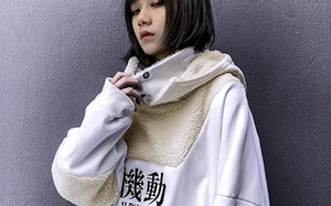 Японская Толстовки Мужчины / женщины 2019 Hip Hop Повседневный Streetwear пиджаков Harajuku Мужской Hoodie Sherpa пальто припуск