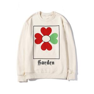 Mens Women Designer Sweatshirt Pullover Clover Brand Casual Fashion Street Style Big G Garden Flower Print Sports White Black M-2XL B100011L