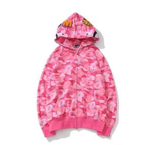 Neue Marke Liebhaber Baumwollbeiläufiges großer loses Rosa Blau Camo gedruckte Strickjacke Hoodies-Mantel