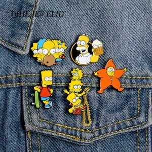 QIHE JEWELRY Humorous Animation Simpson Enamel pins Cartoon pins Brooches Badges Denim Clothes Bag pins Gift for Fans Friends