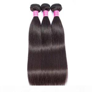 L Perulu Bakire Saç Üç Paketler ile 4x4 Dantel Kapanış Düz Doğal Renk Toptan İnsan Saç wefts 4x4 Dantel Kapanış 4pie ile