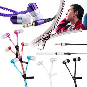In-ear Metal Bass Zipper Earphone Sports Music Wired Earbud Headset With MIC 3.5mm Jack for Cellphone for iphone ipad MP3 MP4