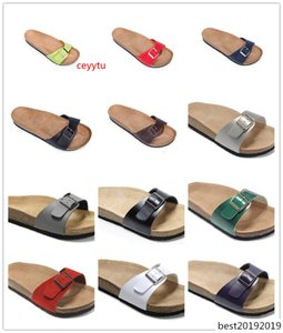 Boken High Quality Brand Brik Madrid Genuine Leather shoes For Men Women Wholesale flats Cork sandals casual beach slippers with Buckle