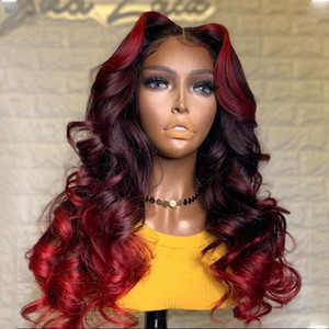 Ombre Red Highlights Color Human Hair Full Lace Wigs Body Wave Brazilian Remy Bleached Konts Glueless Wigs with Baby Hair