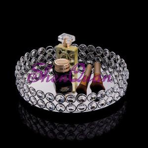 Bandeja de la torta de la decoración de la boda, cuentas de cristal de bling bling del espejo bandeja redonda de la vanidad en plata, bandeja de la torta del metal