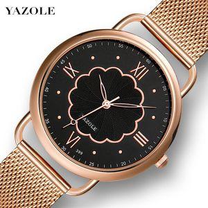 Yazole399 relógio de quartzo malha Strap Rose relógio de ouro das mulheres Moda Casual Coreano de estilo relógio de pulso Mulheres