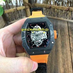 Top RM27-02 Mens dell'orologio della vigilanza in fibra di carbonio orologio svizzero meccanico automatico 28800 VPH cristallo di zaffiro scheletro squelette Dial