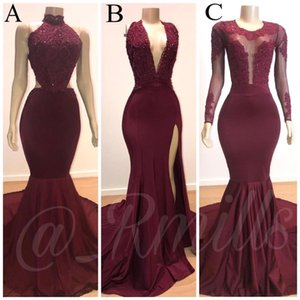 Vermelho escuro Pescoço V Lace Appliqued Sereia Prom Vestidos longos 2020 Satin Applique divisão formal do partido Evening vestidos de mulheres usam BC3198