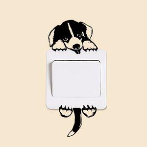2 조각 DIY 재미 귀여운 고양이 개 스위치 스티커 벽 스티커 홈 장식 침실 응접실 장식 AA 기타 홈 인테리어