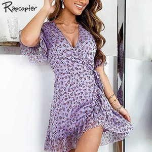Rapcopter 2020 여름 새로운 도착 섹시한 미니 드레스 휴가 우아한 여자 드레스 뻗 꽃 레이스 퍼플 나비 드레스
