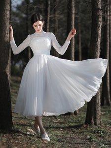 New Coming 2020 Women Bateau Tea-Length Wedding Dresses with Lace and Chiffon Short Bridal Dresses Long Sleeves V-Back Vestido de Novia