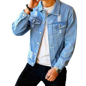Мужская джинсовая куртка Хип-хоп Ретро джинсовая куртка Уличный повседневный пилот Harajuku Fashion Hole Тонкий застегнутый небесно-голубой мужской топы куртки