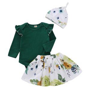 Mikrdoo Toddler Newborn Baby Girls Clothes Set Long Sleeve Ruffle Top Floral Print Skirt Hat 3PCS Spring Autumn Outfit