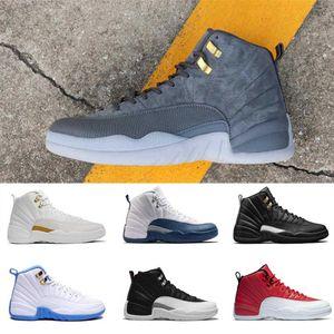 Aria JORDAΝ 12 12S basket scarpe da uomo in lana Mens Sneakers francese Blue Suede Bordeaux grigio scuro Palestra Red lupo grigio Sport