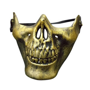 Halloween Horror Half Chin Plastic Face Shield Human Skull Mask