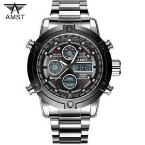 Yeni 2020 Su geçirmez Relogio Masculino AMST Saatler Erkekler İzle Paslanmaz Çelik Analog Dijital İkili Zaman Spor Saatleri