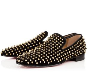Fashion Black Glitter Spikes Studded Red Bottom Loafers Shoes Men Flats Wedding Party Gentlemen Dress Oxford Shoes