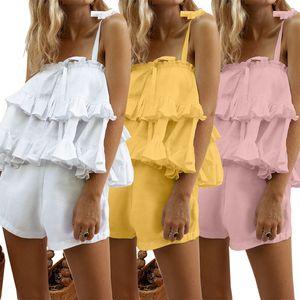 Ruffle Designer Mulheres Fatos doce Sexy 2 Shorts peça sólida Cor Sling mangas Tops Fatos forma das mulheres de Verão