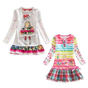 Vikita vestidos para meninas de algodão crianças flor impressão dress crianças vestidos de bebê de manga longa o pescoço meninas vestidos 2 pc / lote f5061 mix j190615