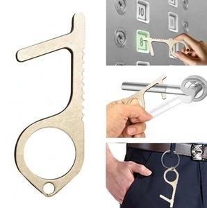 Abridor de puerta sin contacto gancho elevador Botón de aleación de zinc Brass Door Closer portátil Edc Llavero multifunción Herramientas OOA7903