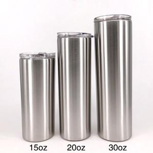 Tumbler magro com copos de aço inoxidável drinkware palha em estoque 450ml 600ml 900ml grande capacidade