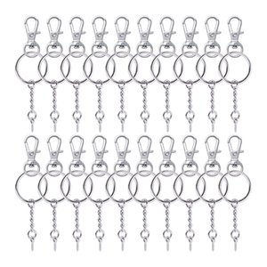 50 Pieces Metal Swivel Clasps Lanyard Snap Hook Lobster Claw Clasp and Key Rings Keychain with 11mm Screw Eye Pins