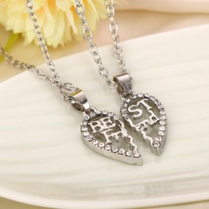 2020 Hollow Heart Shape Stitching Pendant Necklace Gold Silver Best Friends Gift Necklace Charm Alloy chain for Women