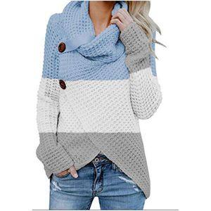 Мода женщины конструктора свитер с длинным рукавом черепаха шея Женской одеждой Полосатой Печать Женского Color Matching Свитер