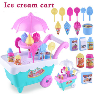 16 Pieces Simulation Shopping Cart Ice Cream Trolley Candy Toys For Children Girls DIY Supermarket Trolley Pretend Play