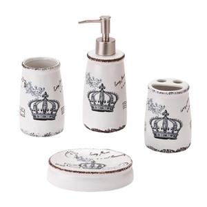 Набор для ванной комнаты 4 Набор аксессуаров для ванной комнаты Держатель для зубных щеток, чашки для зубных щеток, мыльница, дезинфицирующее средство для рук Бутылка - Nordic Style