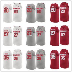 Greg Oden # 20 Fred Taylor # 27 Gary Bradds # 35 OSU Ohio State Buckeyes College-Retro-Basketballjerseys Männer genähtes Gewohnheit irgendein Name