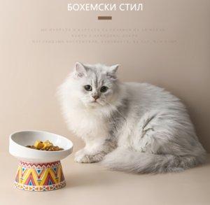 Cat Bowl Ceramic Food Bowl Pet Drinking Water Tall Feet Dog Bohemian Bone Porcelain Send a Placemat Suppress Bacterial Growth Health