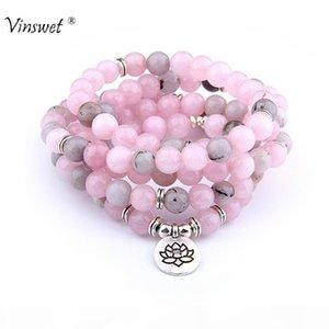 108 Beads Natural Pink Stone Beads Bracelet Fashion OM Pendant Strand Mala Men Bracelets or Necklace Yoga Healing Women Jewelry