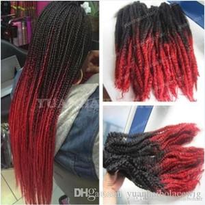 12 Packs Tête complète Two Tone Marley Tresses Ombre Rouge Noir Hair Extensions de cheveux synthétiques Kinky Twist Tressage Livraison gratuite