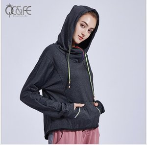 2019 Autumn New Loose Recreational Cap Sports Blouse Long Sleeve Yoga Fitness Suit for Women Running