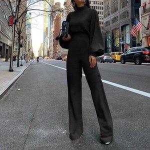 Jaycosin Yeni Moda Kadın Sonbahar Kış Jumpsuit Puff Kollu Halter Casual Seksi Jumpsuit Streetwear Yüksek boyunlu Uzun kollu