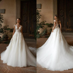 2020 Nueva Milla Nova Boho vestidos de novia Una línea de apliques de encaje Sheer escote Bohemia Vestidos de novia barrer de tren por encargo Vestidos de novia