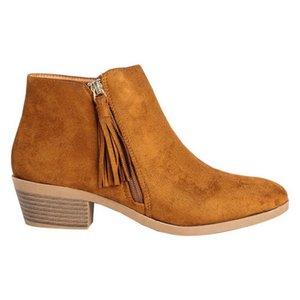 Hot Vente- Tassel Bottines Zipper Pointu épais talon Bottes femme en cuir respirant Boucle Fuites bottes courtes de Nice Nouveau